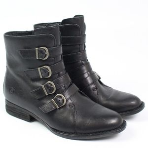 Born Cardi black leather buckle ankle boots